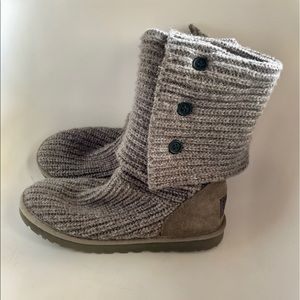 UGG Shoes - Ugg Classic Tall Gray Fold Over Carey Boots Sz 7